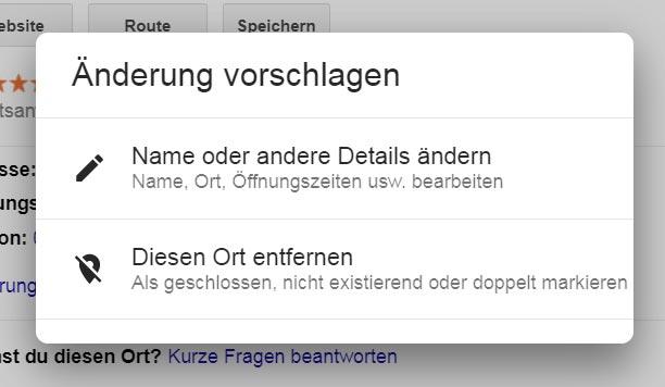 Google Maps Eintrag entfernen