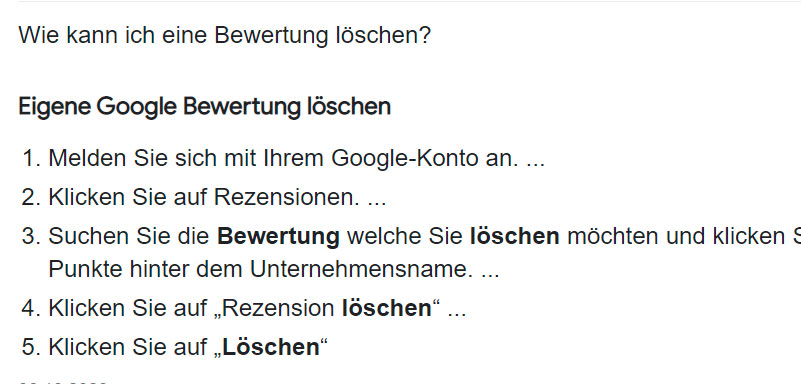 Eigene Google Bewertung löschenSie eine eigene Google Bewertung löschen
